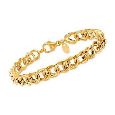 Italian 14kt Yellow Gold Interlocking-Link Bracelet