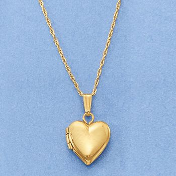 "Baby's 14kt Yellow Gold Single Initial Heart Locket Necklace. 13"", , default"