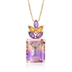 "2.70 Carat Ametrine Floral Pendant Necklace With Citrines and Amethysts in 14kt Yellow Gold. 18"", , default"