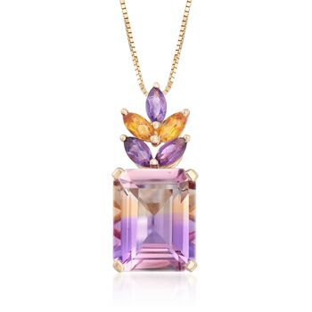 """2.70 Carat Ametrine Floral Pendant Necklace With Citrines and Amethysts in 14kt Yellow Gold. 18"""", , default"""