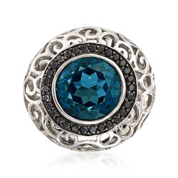 8.75 Carat London Blue Topaz and .40 ct. t.w. Black Spinel Ring in Sterling Silver, , default