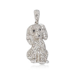 .15 ct. t.w. Black and White Diamond Dog Pendant in Sterling Silver, , default