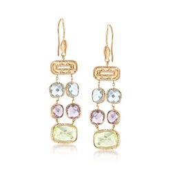 Italian 10.00 ct. t.w. Multi-Stone Double-Row Drop Earrings in 14kt Yellow Gold , , default