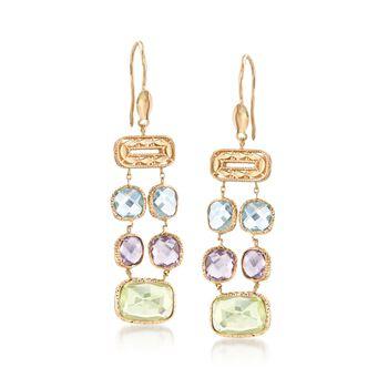 Italian 10.00 ct. t.w. Multi-Stone Double-Row Drop Earrings in 14kt Yellow Gold , , default