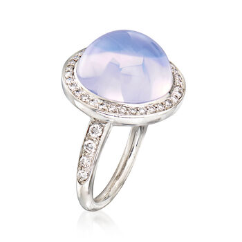 C. 2000 Vintage Mimi Milano Lavender Chalcedony and .55 ct. t.w. Diamond Ring in 18kt White Gold. Size 6