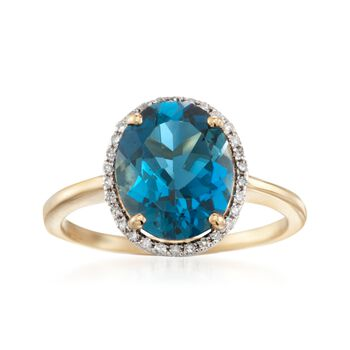 3.70 Carat London Blue Topaz and .13 ct. t.w. Diamond Ring in 14kt Yellow Gold, , default