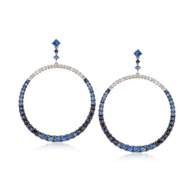 6.00 ct. t.w. Sapphire and .80 ct. t.w. Diamond Open Circle Drop Earrings in 18kt White Gold, , default