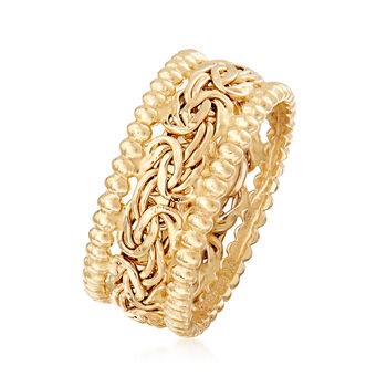 14kt Yellow Gold Beaded Border Byzantine Ring