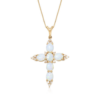 Australian Opal and .16 ct. t.w. Diamond Cross Pendant Necklace in 14kt Yellow Gold, , default