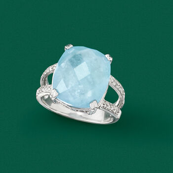 Milky Aquamarine and .10 ct. t.w. Diamond Ring in Sterling Silver