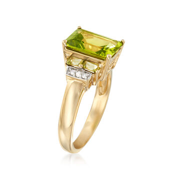 3.80 ct. t.w. Peridot Ring with Diamond Accents in 14kt Yellow Gold, , default