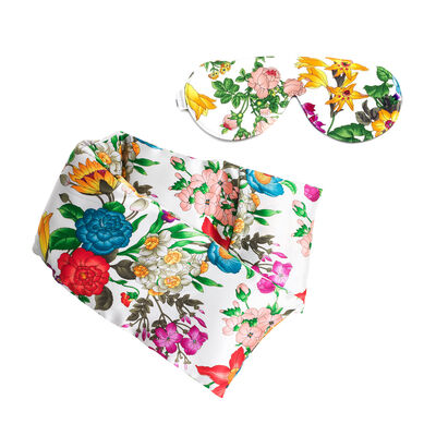Floral Silk Blush Hot/Cold Pack and Eye Mask Set, , default