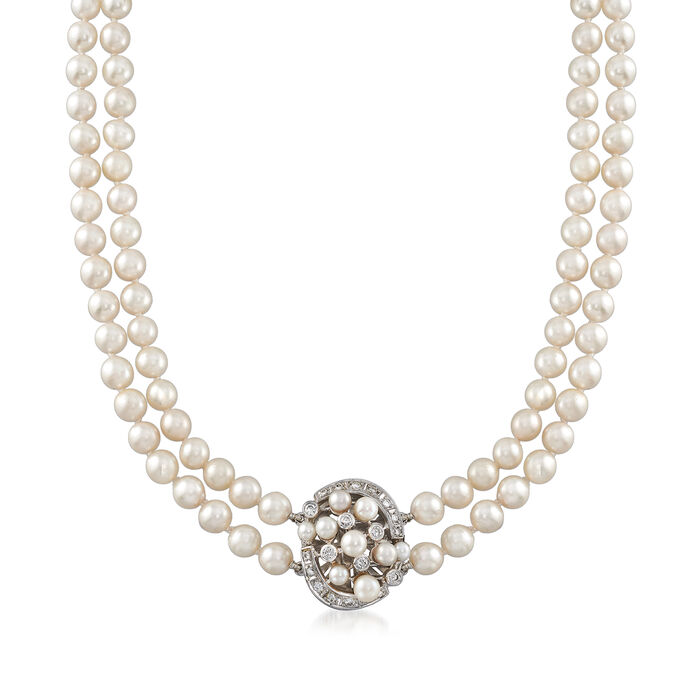 """C. 1970 Vintage Cultured Pearl and .50 ct. t.w. Diamond Double-Strand Necklace in 18kt White Gold. 17"""""""