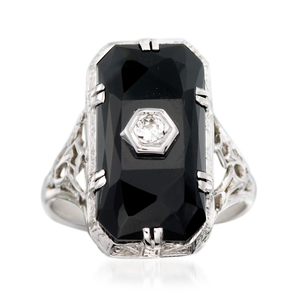 C 1950 Vintage Faceted Black Onyx Ring With Diamond Accents In 18kt White Gold