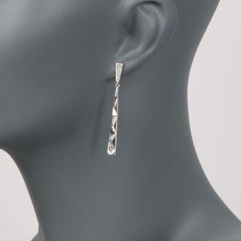 .10 ct. t.w. Diamond Triangle Drop Earrings in Sterling Silver , , default