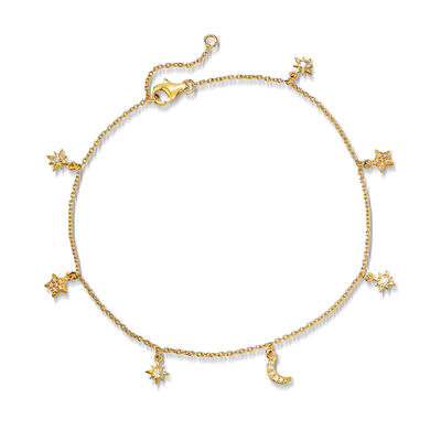 .23 ct. t.w. Sun and Moon Charm Anklet in 18kt Gold Over Sterling, , default