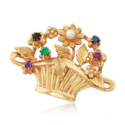 C. 1970 Vintage Multi-Gemstone Floral Basket Pin in 14kt Yellow Gold, , default