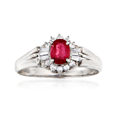 C. 1980 Vintage .45 Carat Ruby and .19 ct. t.w. Diamond Ring in Platinum