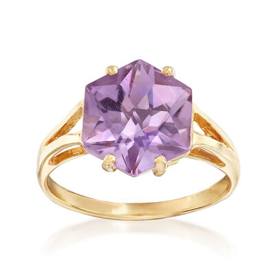 C. 1990 Vintage 3.20 Carat Purple Beryl Ring in 14kt Yellow Gold, , default