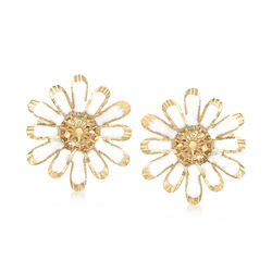 Italian White Enamel and 18kt Yellow Gold Daisy Earrings, , default