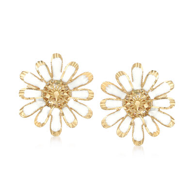 Italian White Enamel and 18kt Yellow Gold Daisy Earrings, , default