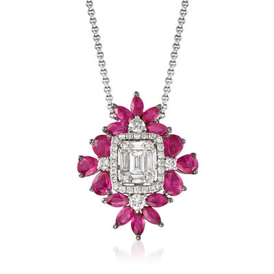 1.80 ct. t.w. Ruby and .55 ct. t.w. Diamond Pendant Necklace in 18kt White Gold, , default