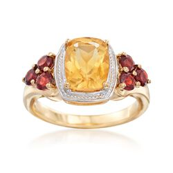 1.60 Carat Citrine and .70 ct. t.w. Burgundy Garnet Ring in Two-Tone Sterling Silver, , default