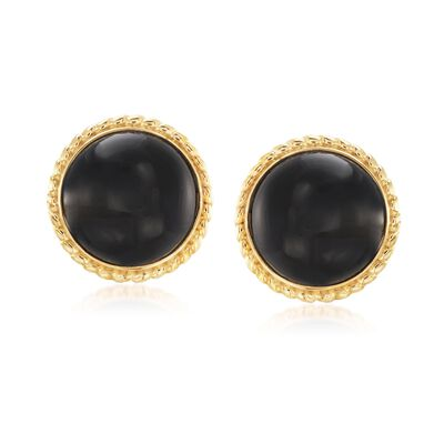 Black Onyx Circle Earrings in 18kt Gold Over Sterling, , default