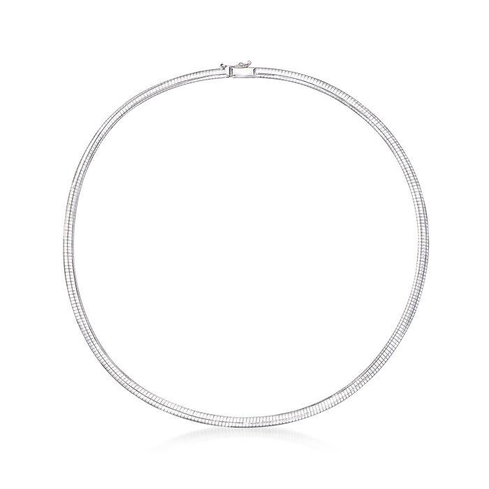 Italian 4mm 14kt White Gold Omega Necklace, , default