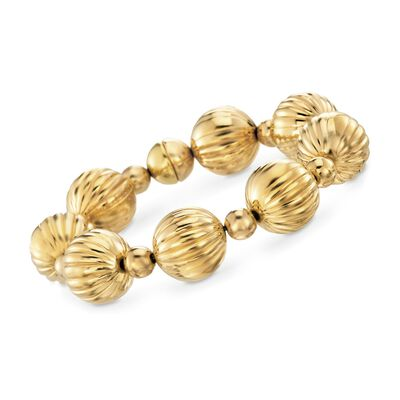 Italian Andiamo 14kt Yellow Gold Fluted Bead Bracelet, , default
