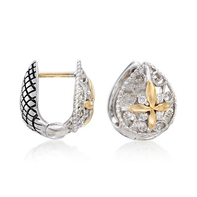 Andrea Candela Sterling Silver and 18kt Yellow Gold Pear Huggie Hoop Earrings with Diamond Accents, , default