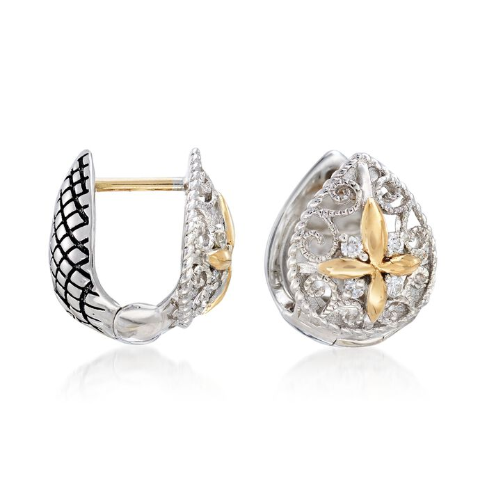 """Andrea Candela Sterling Silver and 18kt Yellow Gold Pear Huggie Hoop Earrings with Diamond Accents. 3/8"""", , default"""
