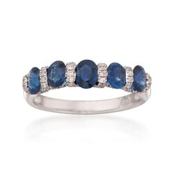 1.85 ct. t.w. Sapphire and .36 Carat Diamond Ring in 14kt White Gold, , default