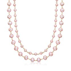 5-8mm Pink Cultured Pearl Double-Strand Station Necklace in 14kt Yellow Gold, , default