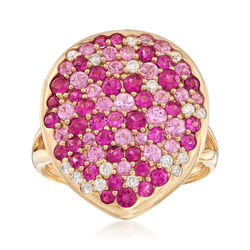 2.21 ct. t.w. Diamond, Ruby and Pink Sapphire Ring in 18kt Yellow Gold, , default