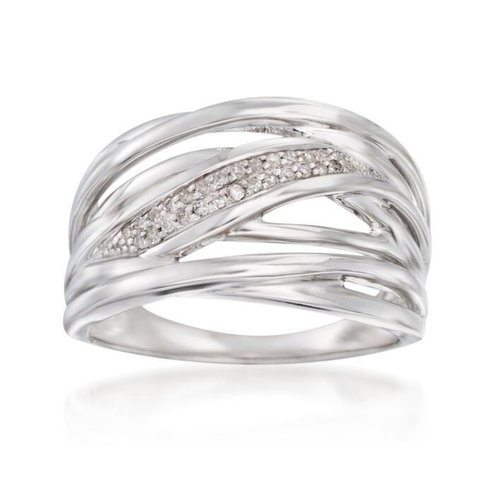.11 ct. t.w. Diamond Sash Highway Ring in Sterling Silver, , default