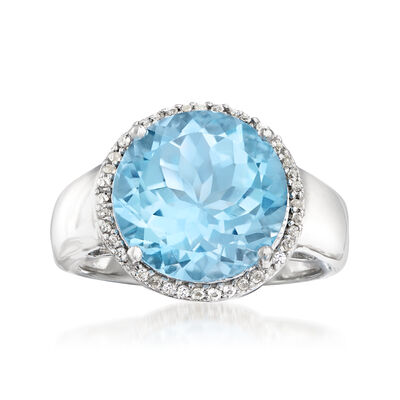 6.30 Carat Sky Blue Topaz and .10 ct. t.w. White Topaz Ring in Sterling Silver, , default