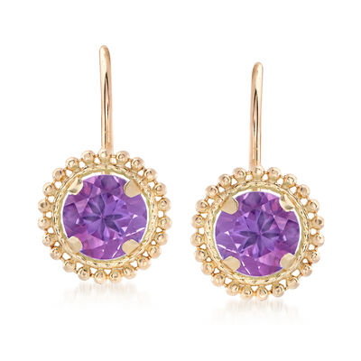 .80 ct. t.w. Amethyst Beaded Drop Earrings in 14kt Yellow Gold, , default