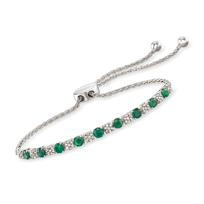 1.20 ct. t.w. Emerald and .20 ct. t.w. Diamond Bolo Bracelet in Sterling Silver, , default
