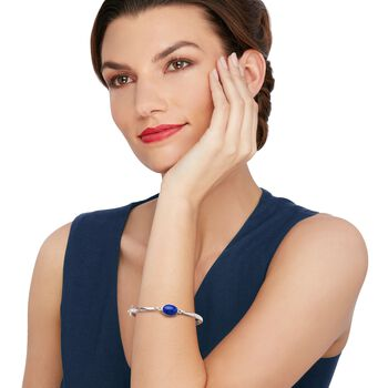 Bezel-Set Lapis Bangle Bracelet in Sterling Silver, , default