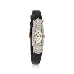 C. 1910 Vintage Brunvil Women's 14mm Manual Platinum and Leather Watch With Diamonds. Size 7, , default