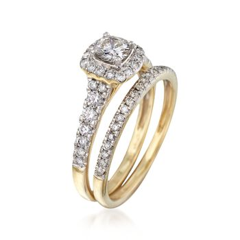 .98 ct. t.w. Diamond Bridal Set: Engagement and Wedding Rings in 14kt Yellow Gold, , default