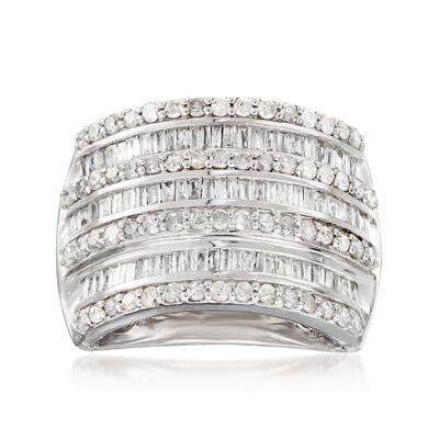 1.50 ct. t.w. Round and Baguette Diamond Multi-Row Ring in Sterling Silver, , default