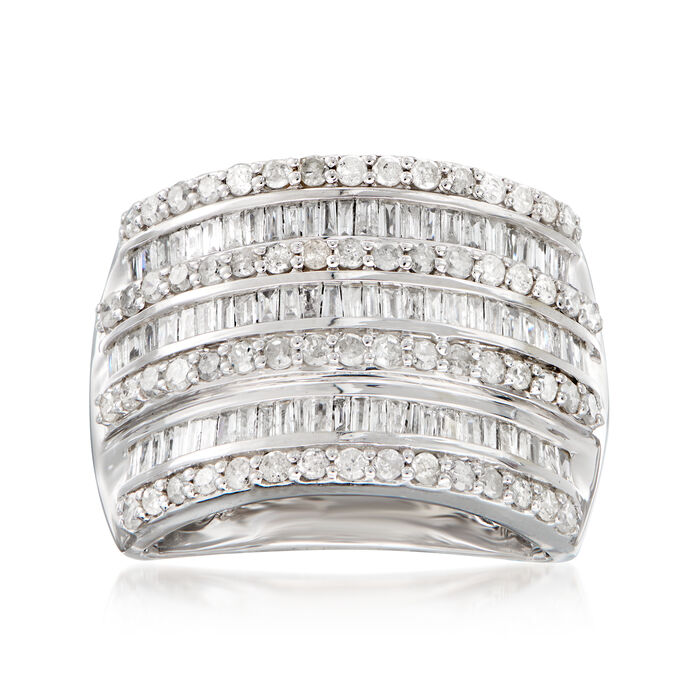 1.50 ct. t.w. Round and Baguette Diamond Multi-Row Ring in Sterling Silver. Size 7, , default