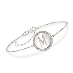 .10 ct. t.w. Diamond Single Initial Disc Bracelet in 14kt White Gold, , default