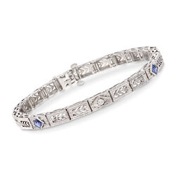 C. 1980 Vintage .30 ct. t.w. Sapphire Filigree Bracelet With Diamond Accent in 14kt White Gold, , default