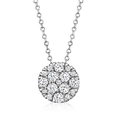 1.00 ct. t.w. Diamond Cluster Circle Necklace in 14kt White Gold