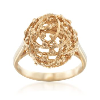 C. 1980 Vintage 18kt Yellow Gold Openwork Dome Ring. Size 6, , default