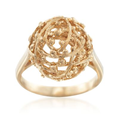 C. 1980 Vintage 18kt Yellow Gold Openwork Dome Ring, , default