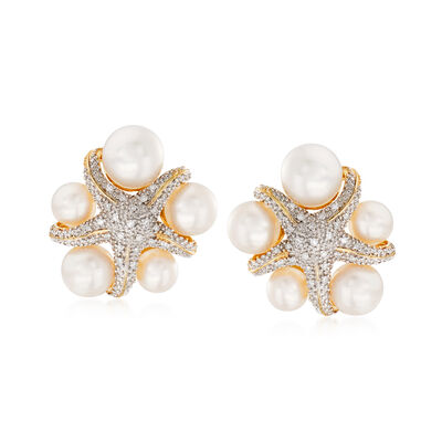 5-7.5mm Cultured Pearl and  .15 ct. t.w. Diamond Starfish Earrings in 18kt Gold Over Sterling, , default